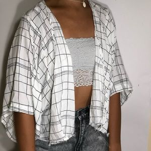 Forever 21 grid pattern blouse cover up